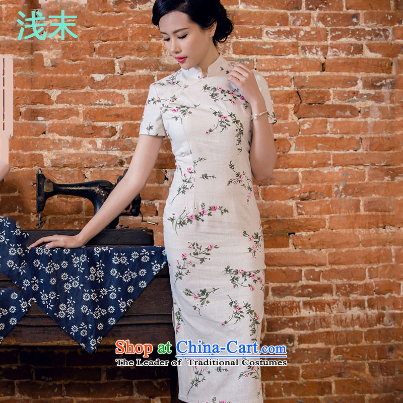 At the end of light skirt Stylish retro ethnic cheongsam dress JT2063 day lilies聽M