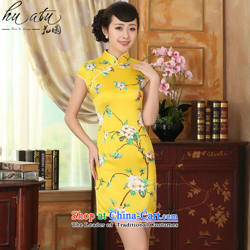 Figure for summer flowers cheongsam dress new Chinese improved version of a mock-neck pressed damask retro abounds with short qipao figure color M