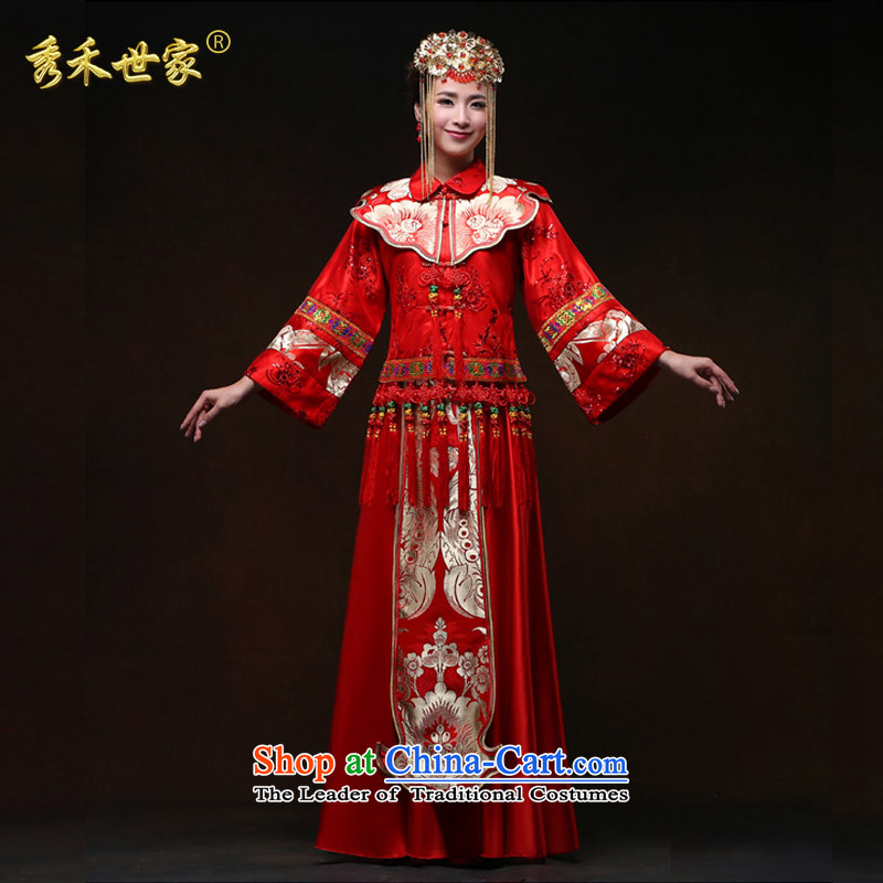 Sau Wo Saga Soo Wo Service 2015 new red wedding dresses bows to Sau Wo Service Bridal Chinese dragon use su kimono marriage spring and summer large red聽L