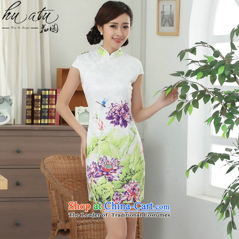 Take a new summer figure for women Tang Dynasty Chinese cheongsam collar is pressed to improve cotton thin short qipao lotus graphics such as map color聽L
