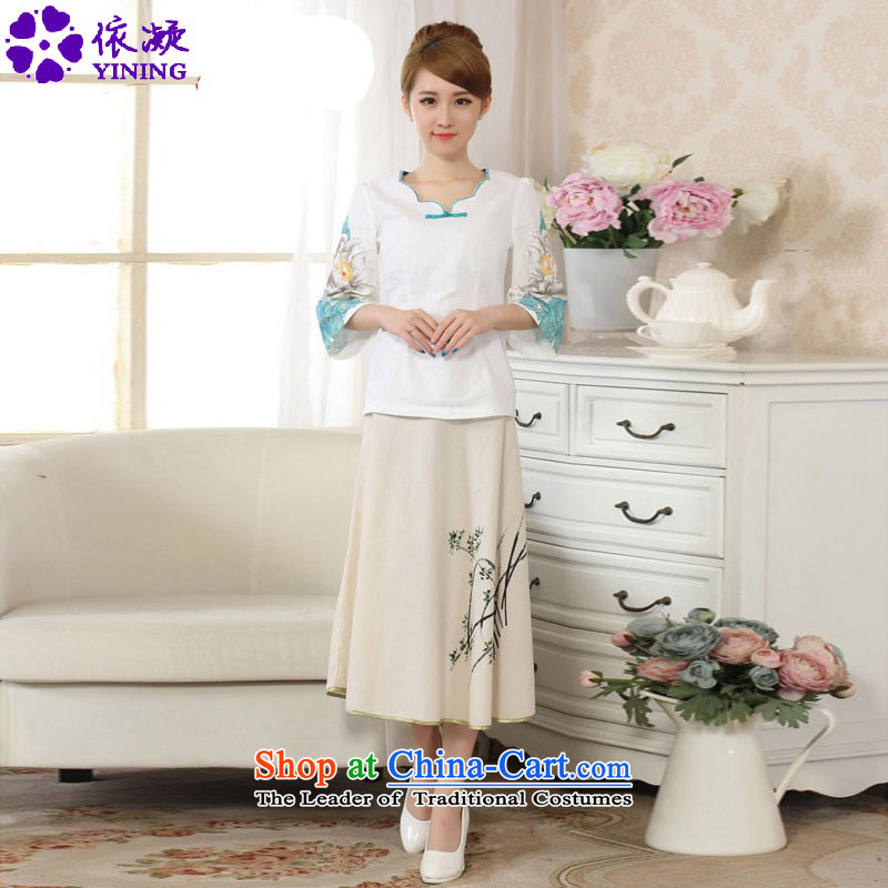 In accordance with the stylish new fuser summer linen hand-painted ethnic horn sleeved shirt + upper body skirt Tang Dynasty Package?LGD/A0066#?P0011# kit S