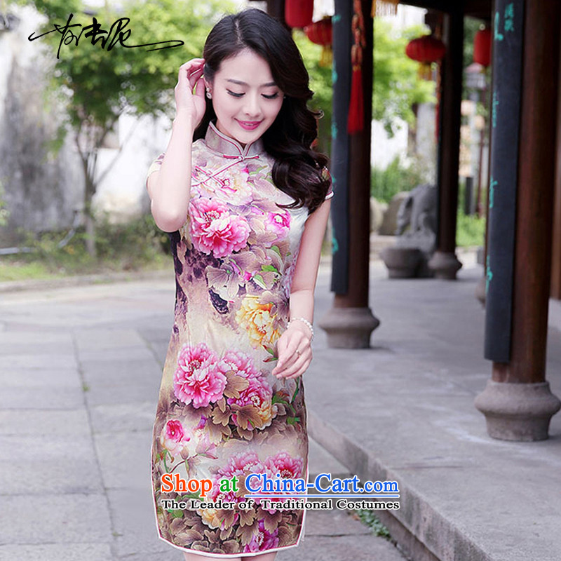 Qipao Women 2015 Summer new improved stylish Silk Cheongsam retro herbs extract qipao skirt?1520?Toner Mudan?L