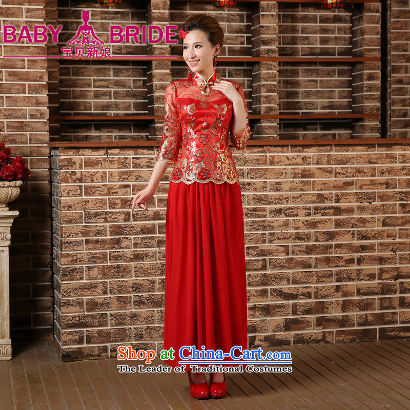 2015 Spring Summer China wind bows Service Bridal wedding dress retro embroidery long cheongsam red female red?L