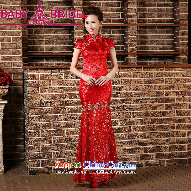 Toasting champagne served qipao marriages crowsfoot long wedding retro improved 2015 Spring, Phoenix wedding dress RED?M