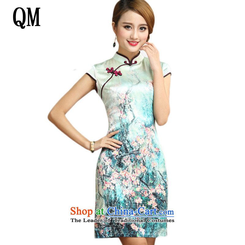 The end of the light upscale saika Silk Cheongsam beach on short of Chinese antique silks qipao also sauna dresses?AQE004?map color?M