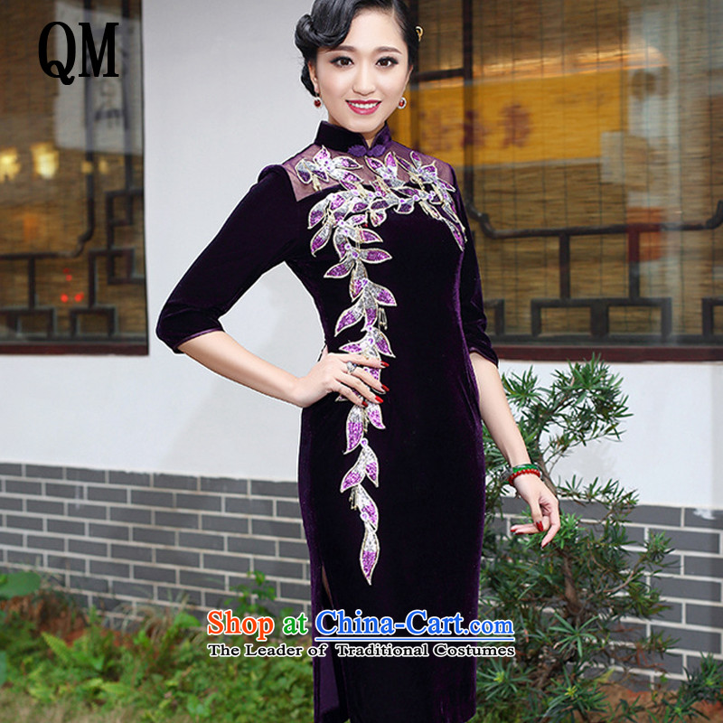At the end of light and stylish boutique elegance Kim scouring pads qipao upscale banqueting mother dress toasting champagne marriage services on's?AQE006?purple in cuff?XXL
