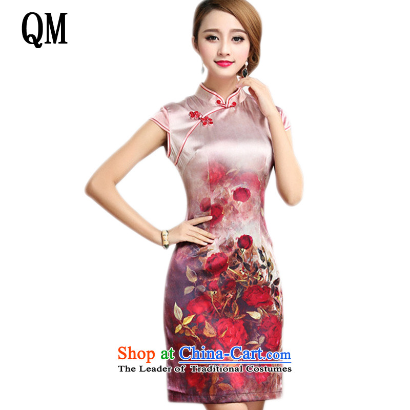 The end of the shallow elegance Silk Cheongsam qipao summer short, improved daily cheongsam dress Sau San AQE007 map color XXL