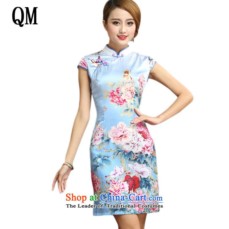 At the end of light and elegant reminiscent of the Silk Cheongsam improved Tang dynasty summer short-sleeved saika cheongsam dress?AQE008?map color?M