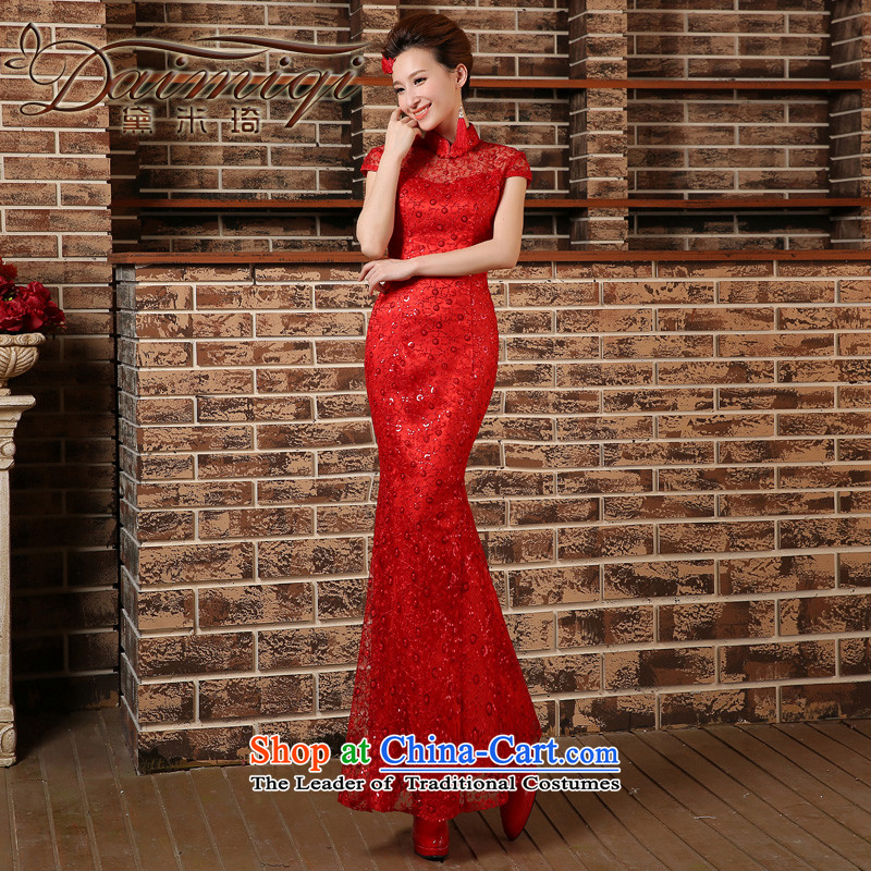 Crowsfoot Mock-neck cheongsam red bows to Chinese marriages yarn long Sau San evening dress short-sleeved blouses and red?L