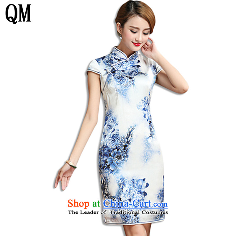 The end of the shallow high-end heavy silk cheongsam dress�15 Summer herbs extract the old Shanghai cheongsam dress燗QE010牋XXXL Cyan