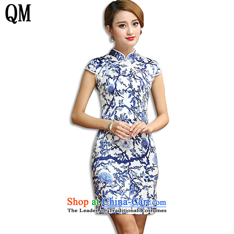 The end of the shallow retro porcelain Silk Cheongsam elegance short cheongsam dress Sau San sauna silk dresses AQE011  XXXL porcelain