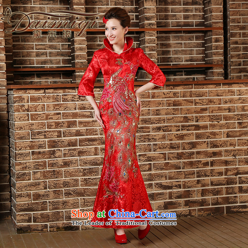 2015 lace Qipao Length of improved, in Sau San crowsfoot cuff nights at high collar bows welcome wedding red燲L