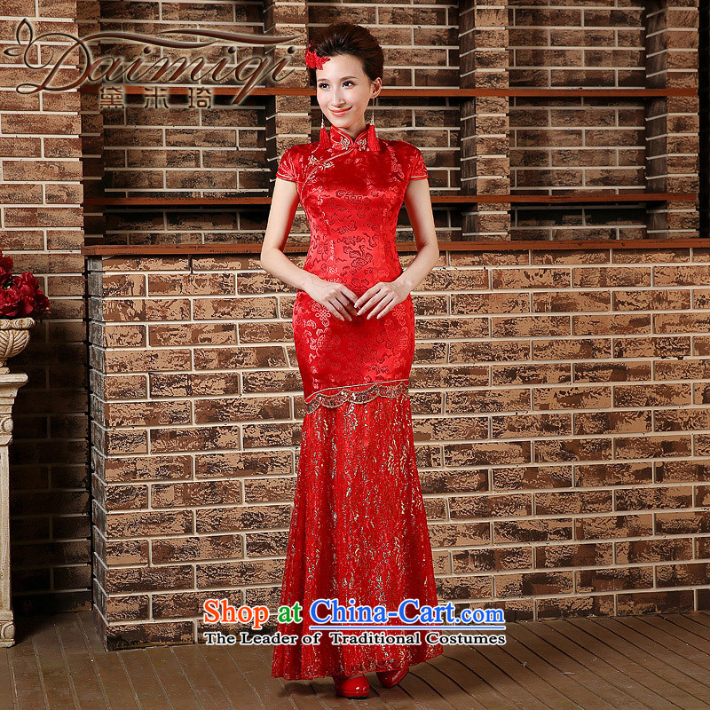 Toasting champagne served qipao marriages crowsfoot long wedding retro improved 2015 Spring, Phoenix wedding dresses red?XL