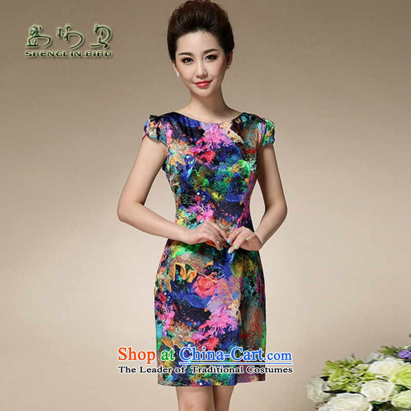 The skirt summer china financial turmoil stamp round-neck collar short-sleeved Sau San emulation silk dresses temperament retro qipao mother Sau San Pack mail blue�L