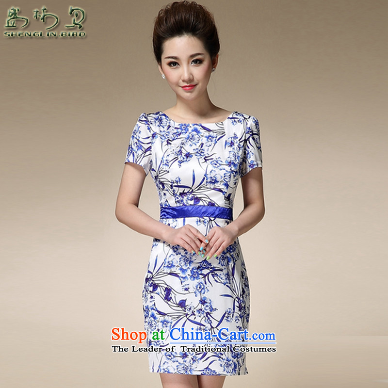 The skirt female summer China wind porcelain pope stamp Foutune of video thin round-neck collar step skirt retro cheongsam MOM pack mail blue?L