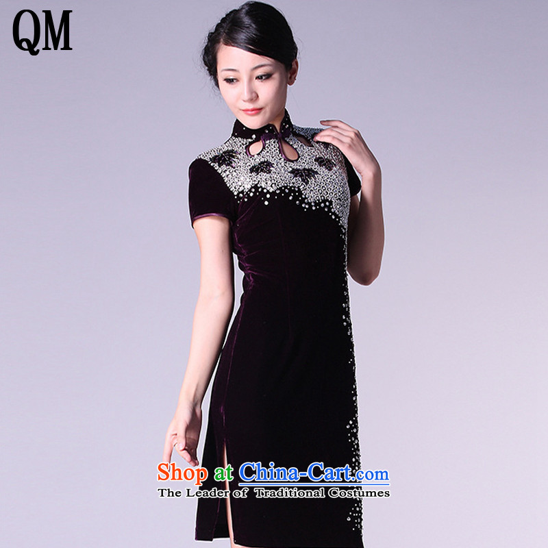 The end of the high end of the shallow cheongsam dress married Kim velvet gown mother banquet xl 7-sleeved clothing female?AQE813 bows?purple short-sleeved?S