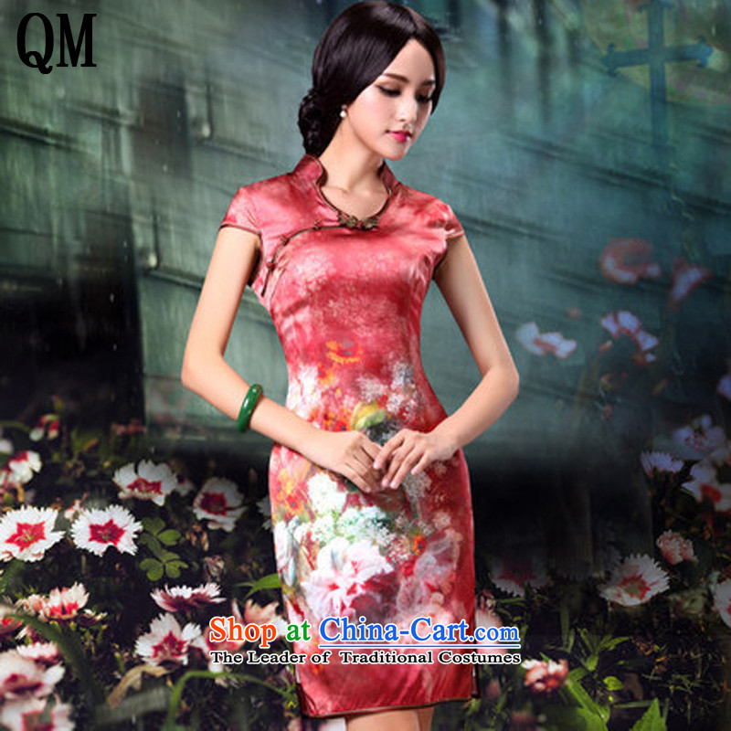 At the end of light and stylish retro silk cheongsam dress flowers, bridal dresses wedding dress?AQE014?RED?M