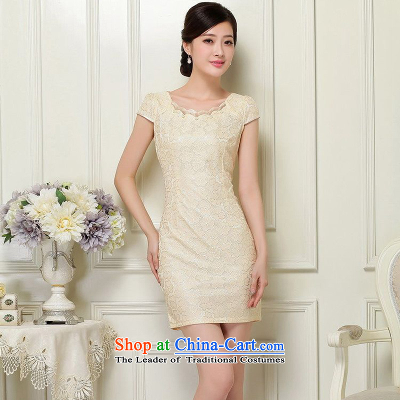 The 2015 summer-jae on new lady improved qipao lace short-sleeved irregular round-neck collar short of Sau San Tong JAYT-37 load qipao apricot?L