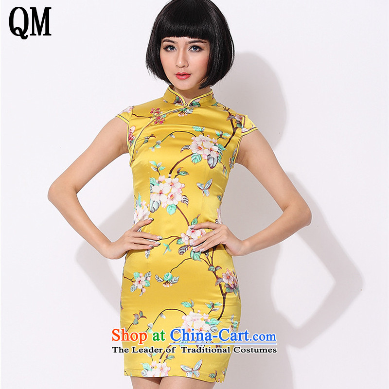 At the end of light floral retro style qipao improved daily silk Chinese herbs extract dress?AQE015??XXXL yellow