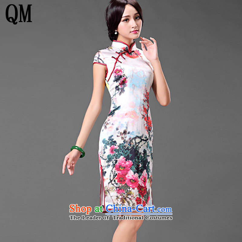 At the end of light is pressed to collar upscale Silk Cheongsam retro improved day-to-dos Santos silk dress dresses summer short-sleeve female?AQE016?map color?XL