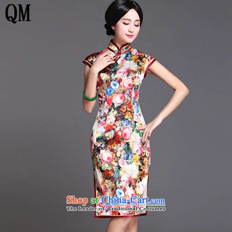 The end of the medium to long term, of light silk cheongsam dress sexy open dos Santos Silk Dresses's skirt AQE018 map color XXL