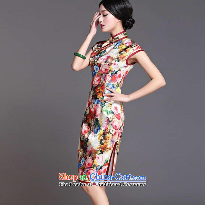 The end of the medium to long term, of light silk cheongsam dress sexy open dos Santos Silk Dresses's skirt AQE018  XXL, light at the end of map color , , , shopping on the Internet