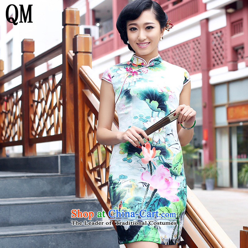 At the end of light heavyweight Silk Cheongsam improved day-to-day summer female sauna silk dresses燗QE8073爏tyle燣