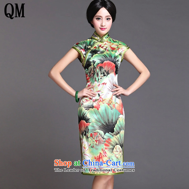 The end of the green light Silk Cheongsam omelet upscale skirt Chinese Tang Dynasty of Korea dress sauna retro silk dresses summer?AQE020??XXXL map color