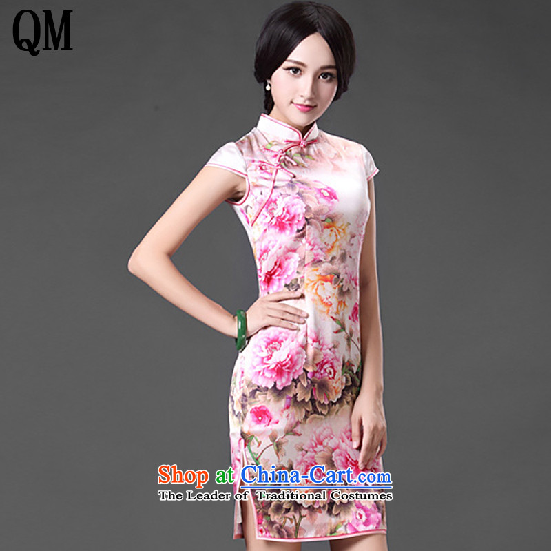 At the end of light and stylish retro heavyweight Silk Cheongsam sense of the forklift truck, peony flowers dress dresses?AQE021?map color?L