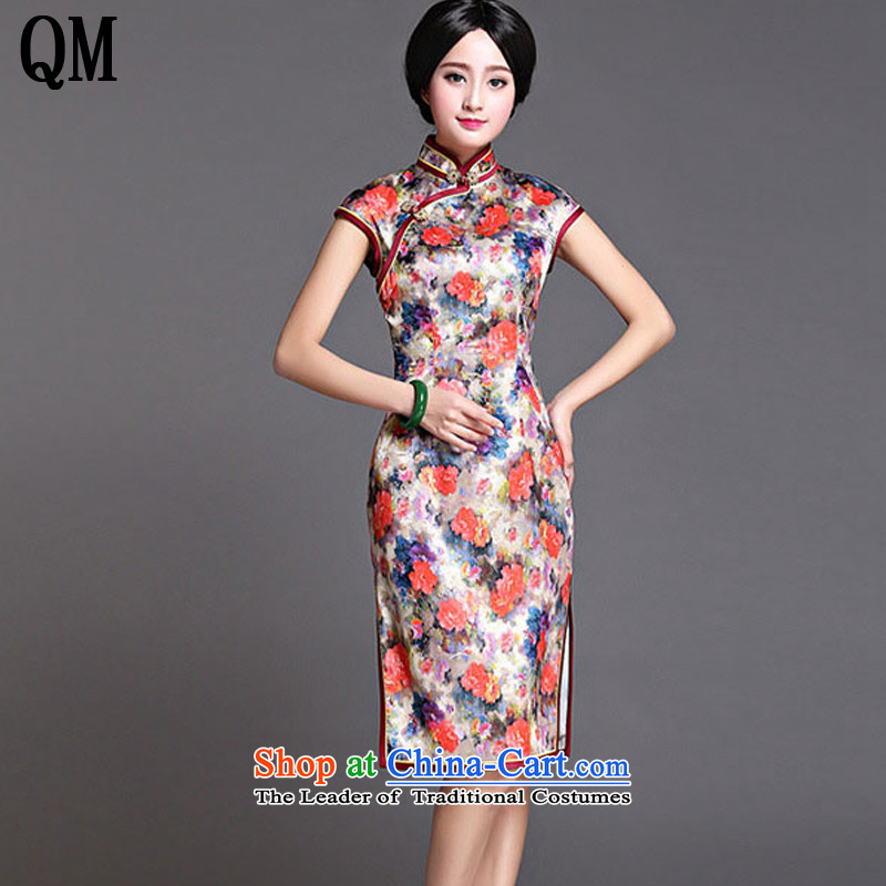 At the end of light Silk Cheongsam. Long China wind upscale herbs extract dress dresses?AQE022??XXXL map color