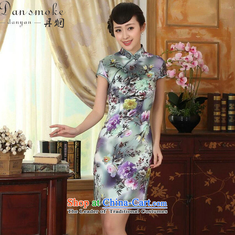 Dan smoke women in summer and autumn peony short-sleeved stretch of Sau San Satin Silk Dresses retro Silk Cheongsam Double Peony?2XL