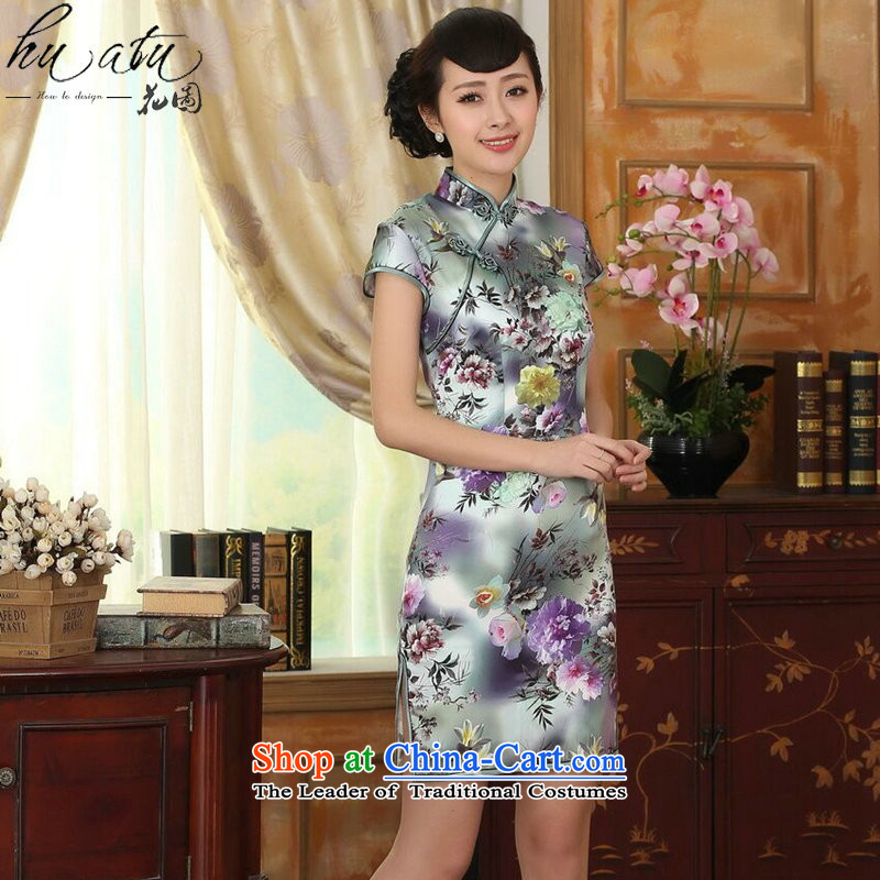 Floral women in summer and autumn peony short-sleeved stretch of Sau San Satin Silk Dresses retro Silk Cheongsam double figure color?L