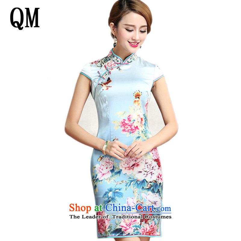 At the end of light heavyweight Silk Cheongsam peony flowers of nostalgia for the improvement of the day-to-day sauna silk cheongsam dress?AQE023?map color?XL