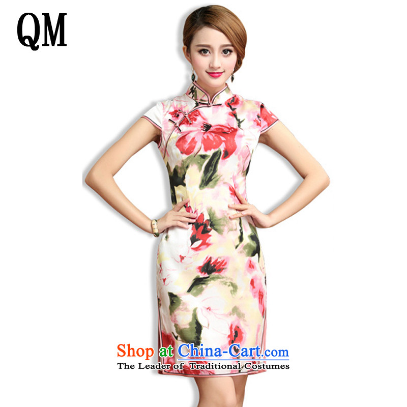 At the end of Light Classical Chinese dresses heavyweight silk cheongsam dress dos Santos also silk Tang Dynasty of Korea female summer?AQE024?SAIKA?L