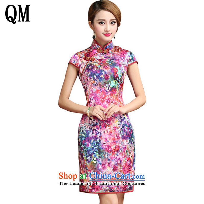 At the end of light silk cheongsam dress 2015 Summer herbs extract Tang dynasty women's dresses short of Qipao?AQE028?map color?XXL