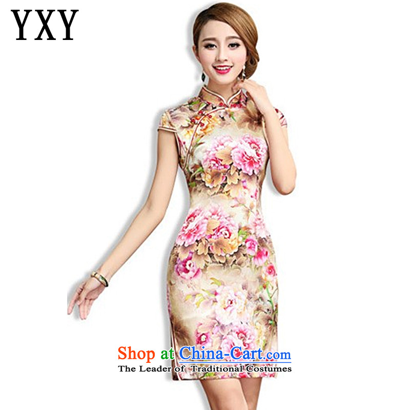 In line of high-end cloud Silk Cheongsam retro sauna also silk cheongsam dress Tang Dynasty Chinese female?AQE003?map color?XL