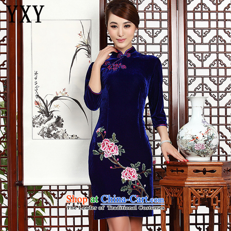 In short, the Cloud's Stylish retro mother embroidery cheongsam cheongsam dress Kim velvet wedding dress?AQE002?BLUE?L