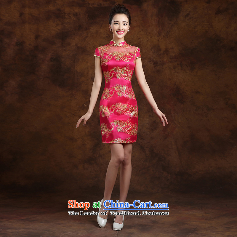 The first white into about?new products in 2015 red retro marriage short-sleeved gown cheongsam bows wedding services installed in the short, bride red?S