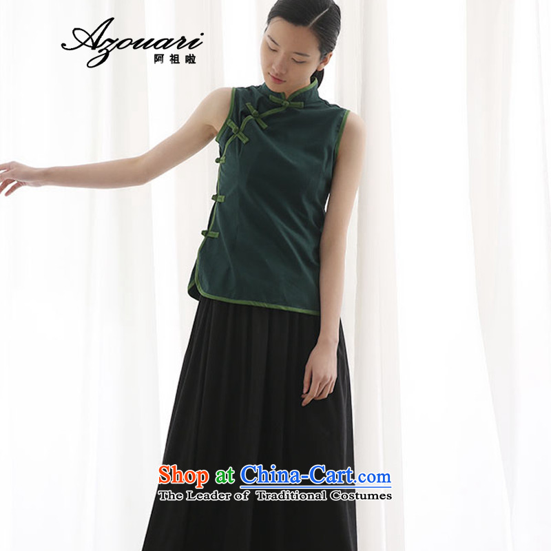 Azzu defense (azouari) summer collar sleeveless shirt qipao improved cotton linen Chinese qipao Chinese vest Sau San tea served with dark green�M