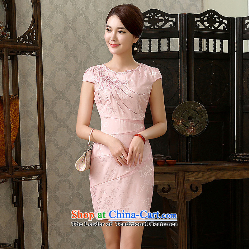 Stephen micro-ching?2015 Spring qipao new stylish Chinese women's elegant improved graphics Ms. Short, Thin cheongsam dress pink?XL
