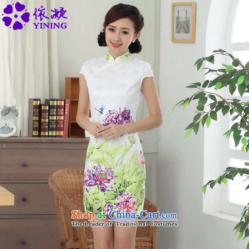 In accordance with the new fuser of Chinese Classical elegance Tang dynasty qipao short of Sau San Tong replacing cheongsam dress?LGD/D0313#?white?S