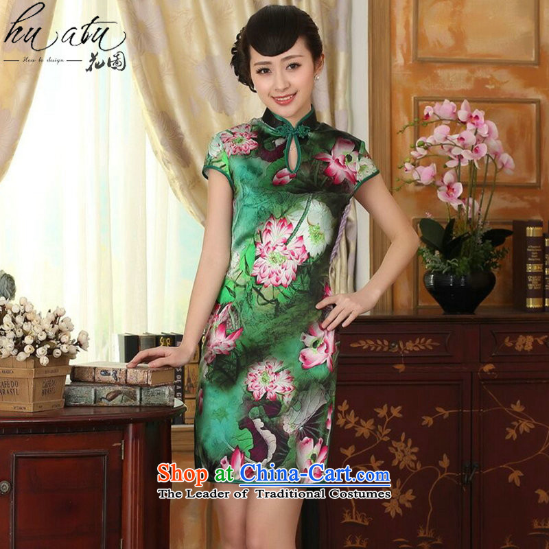 Women's Summer floral lotus pond and the Old Shanghai retro silk herbs extract double short-sleeved cheongsam dress short Figure Color聽S