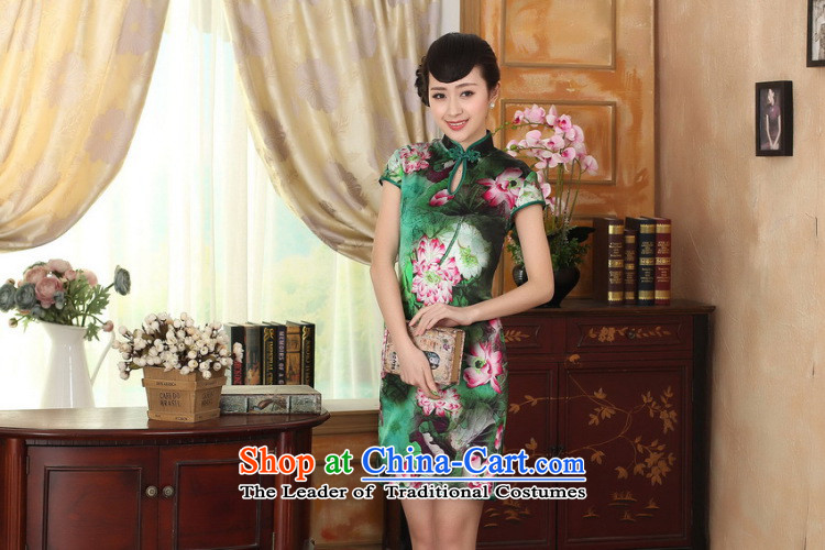 Dan smoke summer female lotus pond and the Old Shanghai retro silk herbs extract double short-sleeved cheongsam dress short figure color聽pictures, prices, XL brand platters! The elections are supplied in the national character of distribution, so action, buy now enjoy more preferential! As soon as possible.