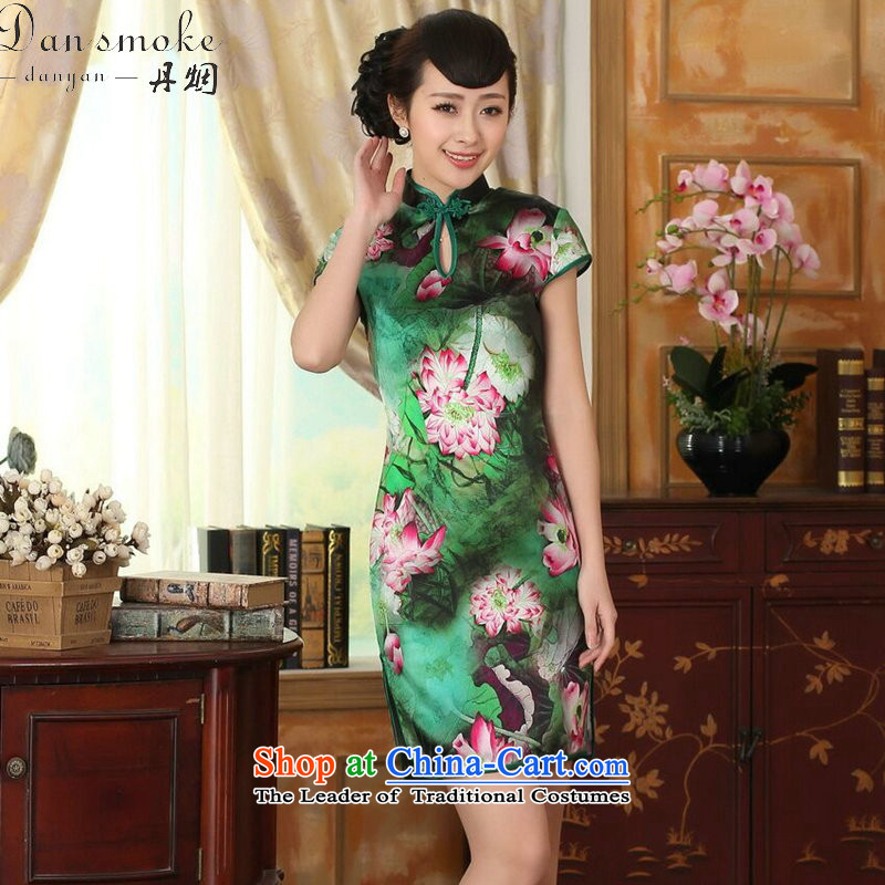 Dan smoke summer female lotus pond and the Old Shanghai retro silk herbs extract double short-sleeved cheongsam dress short Figure Color聽XL