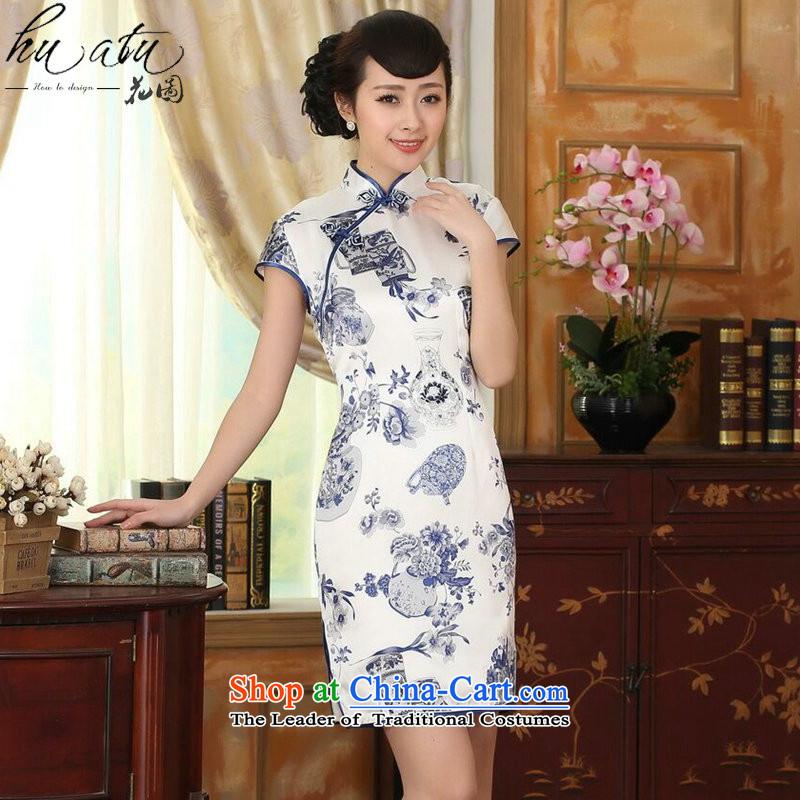 Floral porcelain Elastic satin silk Sau San dresses summer female Chinese Silk Cheongsam short-retro dress figure color燣