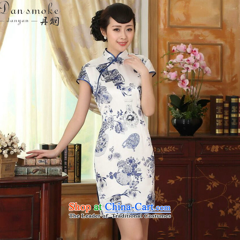 Dan smoke porcelain Elastic satin silk Sau San dresses summer female Chinese Silk Cheongsam short-retro dress figure color?L