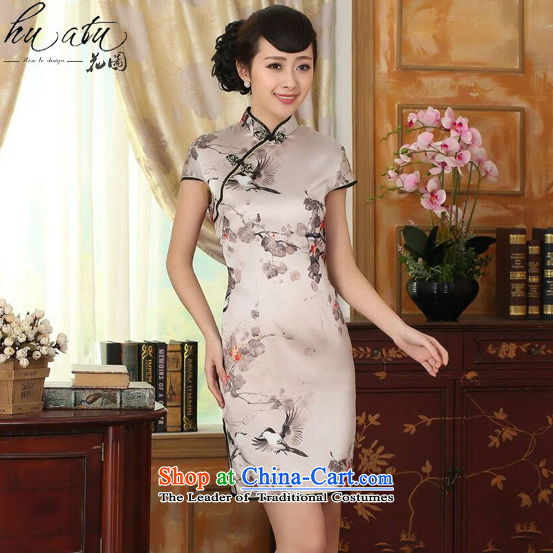 Figure for summer flowers female silk retro herbs extract poster stretch of Sau San double short qipao gown improved as Chinese color 2XL