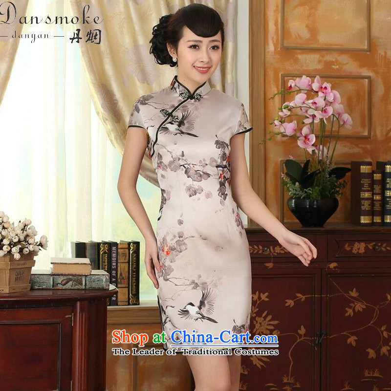 Dan smoke summer female silk retro herbs extract poster stretch of Sau San double short qipao gown improved as Chinese color?S