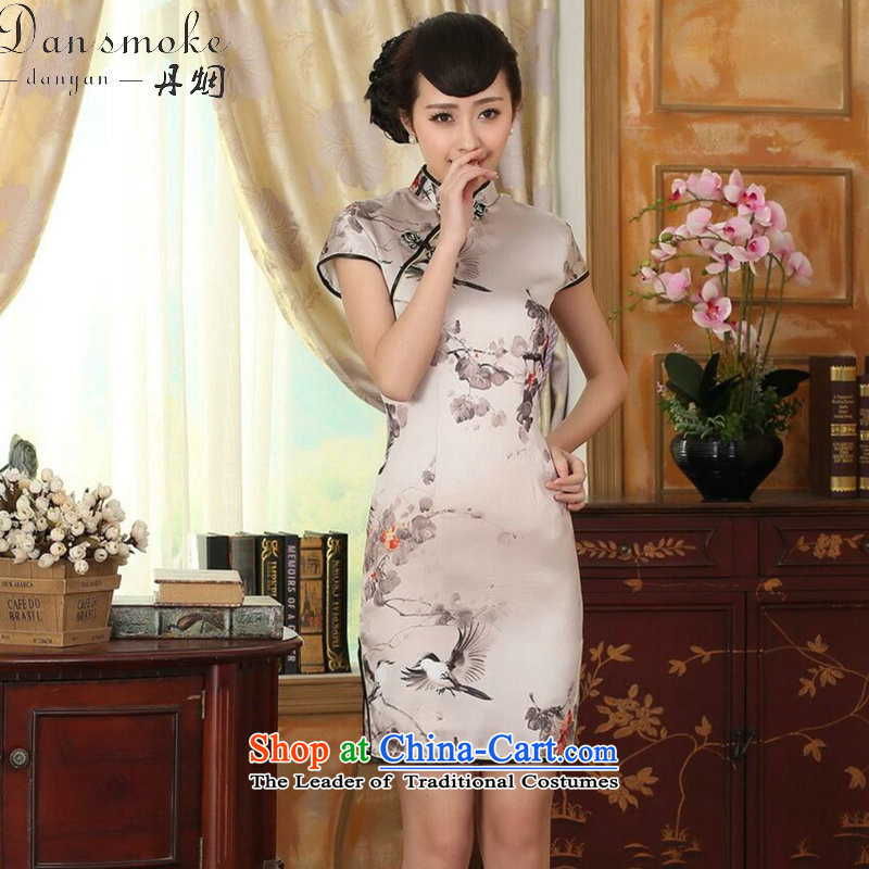 Dan smoke summer female silk retro herbs extract poster stretch of Sau San double short qipao gown improved as Chinese color聽S, Dan Smoke , , , shopping on the Internet