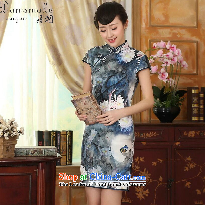 Dan smoke lotus pond and the new summer female Chinese Antique silk herbs extract double dinner short qipao Figure Color聽XL